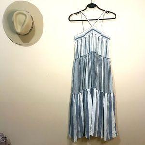 J Crew Linen Tiered Midi Dress